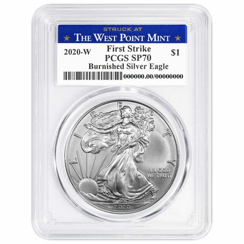 Presale - 2020-W Burnished $1 American Silver Eagle PCGS SP70 FS West Point Labe