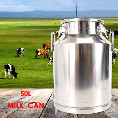 50l 13.25 Gallon Stainless Steel Milk Can Storage Can Tank Barrel Home Garden