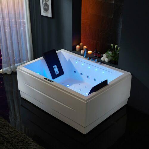 """71"""" Acrylic White 3 Side Apron Corner Bathtub with Massage Jet&LED Chromatherapy"""
