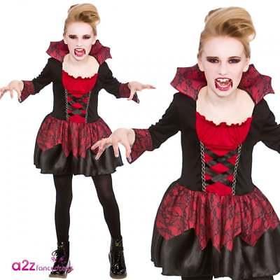 Vampiress Girls Little Vampire Kids Halloween Fancy Dress Costume Age 3-13 New - Halloween Costumes For Girls Age 13