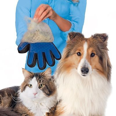 Pet Dog Cat Gentle Deshedding Brush Grooming Glove Massage Hair Fur Removal