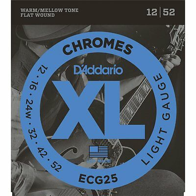 D'Addario ECG25 Chromes Flat Wound Light Electric Guitar Strings (12-52)