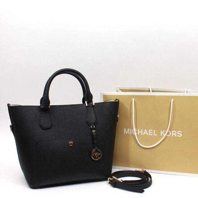 d73233641477 ... NWT Michael Kors Greenwich Saffiano Leather Large Grab Bag Satchel  Handbag Black ...