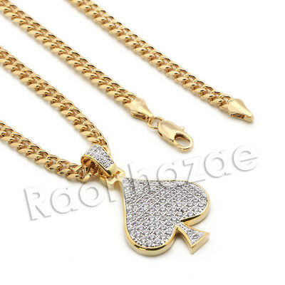 Lab diamond Micro Pave Fortune Spade Pendant w/ Miami Cuban Chain BR077