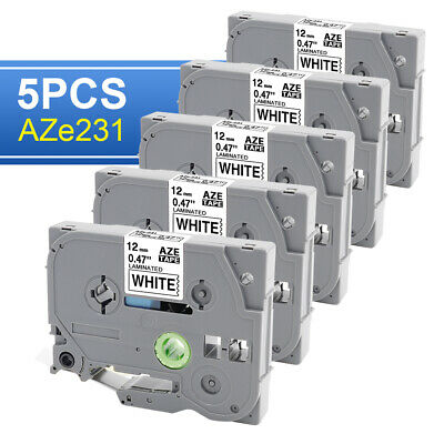 5-pkpack Tze231 Tz231 Blackwhite Label Tape For Brother P-touch Pt-d210 12mm.