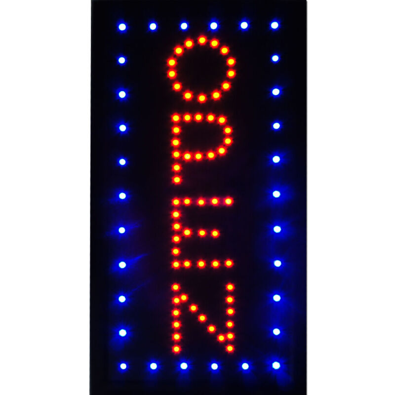 """19""""x10"""" Bright Vertical LED OPEN Business Sign Animated Neon Light On/Off Switch"""
