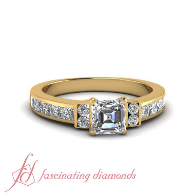 1.80 Ct Channel Set Wedding Ring With Asscher Cut Diamond In 14K Yellow Gold GIA
