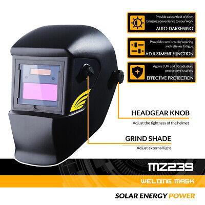 Solar Powered Auto Darkening Welding Helmet Migtig Arc Welder Mask Black