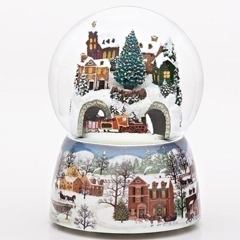 Winter Village with Revolving Train Musical 120MM Snow Globe Glitterdome New