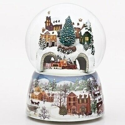 Winter Village with Revolving Train Musical 120MM Snow Globe Glitterdome New