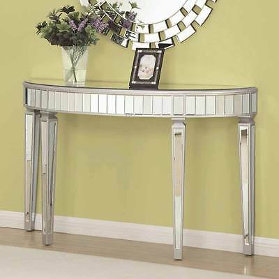 Hallway Entryway Mirrored Mirror Console Sofa Table Stand Half Oval Silver NEW ()
