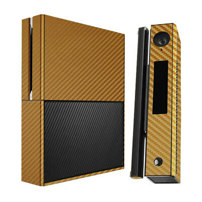 Skinomi Carbon Fiber Gold Skin Cover for Microsoft Xbox One+Kinect Combo