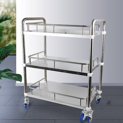 Hospital Three Layers Serving Dental Lab Cart Trolley Stainless Steel Lockable