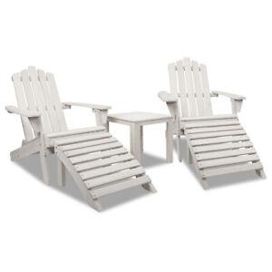 Gardeon 5pc Outdoor Wooden Adirondack Beach Chair and Table Set - Beige White