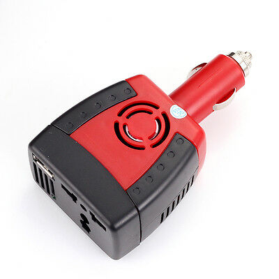 Car Cigarette 150W DC 12V to AC 220V + USB 2.0 5V Power Inverter Adapter Charger
