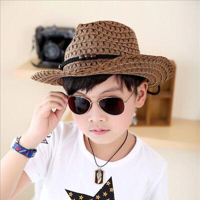 Child Straw Cowboy Hat (Cool Baby Cowboy Straw Hats for Children Boys Summer Beach Sun Hat Caps Cute)