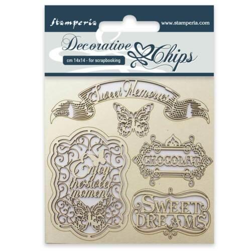 "Stamperia Decorative Chips - SWEET MEMORIES - 5.5"" x 5.5"" #SCB17"