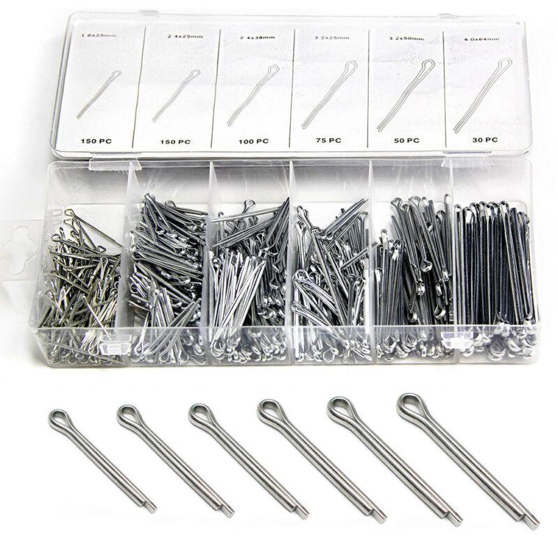 555pcs 6 Kind Split Cotter Pins Assortment Kit Fastener Hardware Set With Box UK