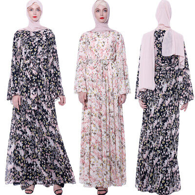 Muslim Women Abaya Floral Flare Sleeve Long Maxi Dress Dubai Cocktail Party Gown
