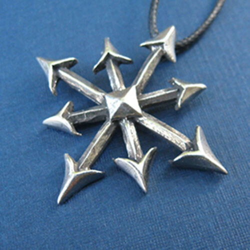 Symbol of Chaos Pendant NEW Pewter Magick Chaosphere Amulet w/ Cord - US Made