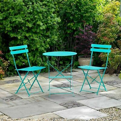 2 SEATER TURQUOISE METAL BISTRO SET FOLDING PATIO OUTDOOR DINING CHAIR WIDO