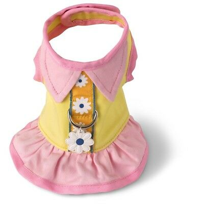 Yellow Pink Cotton Dog Harness Dress Doggles all sizes Pet  spring