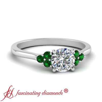1/2 Carat Round Diamond Petite Cathedral Engagement Ring With Emerald Gemstone