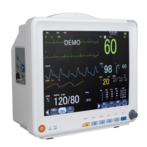 NEW 12IN PATIENT MONITOR 6-PARAMETER ICU CCU VITAL SIGN MONITORING MACHINE HOSPITAL