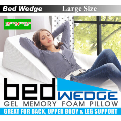 "12"" Large Size Bed Wedge Raised Pillow Acid Reflux Memory Fo"