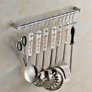 Kitchen Cupboard & Wall Mounted 12 Hooks Tool Utensils Holder Hanging Rail Rack