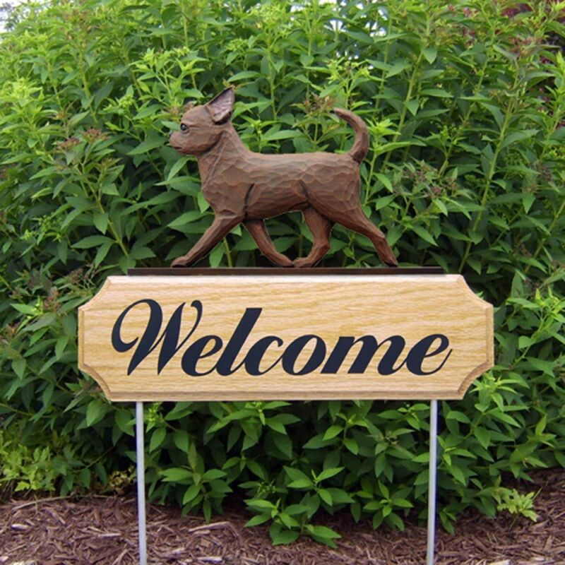 Chihuahua Wood Welcome Outdoor Sign Chocolate