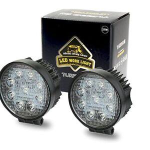 2X 4INCH 27W Round LED WORK LIGHT BAR Spot Flood OFFROAD DRIVING FOG LAMP 12V Y