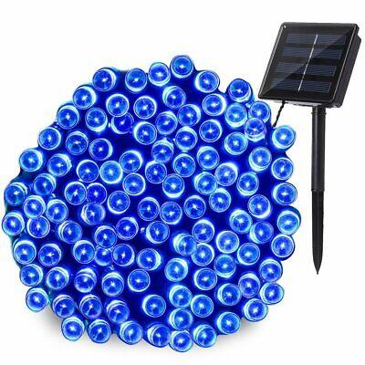 10m 100 LED Solar Lichterkette weihnachts Außen Garten Draht-lichterkette Blau