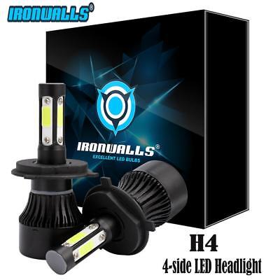 4 Side Hi/Low Beam IRONWALLS H4 9003 LED Headlight 1400W 210000LM Bulb Kit 6500K