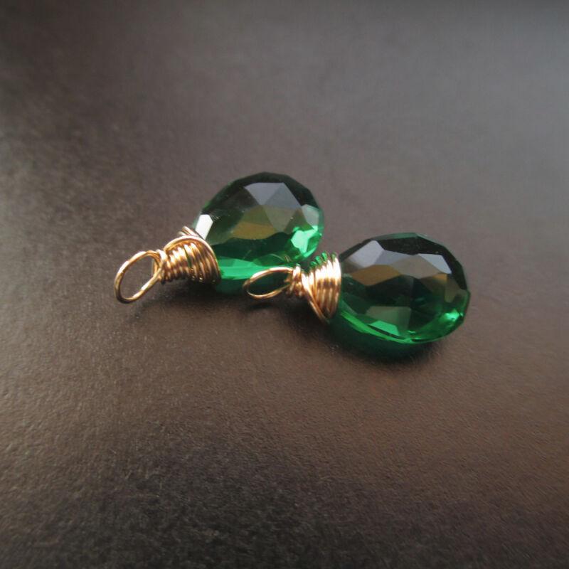 2 Emerald Green Quartz Wire Wrapped Gemstone Drops