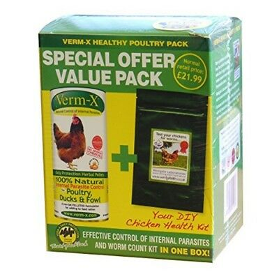 Verm-x Poultry Health Pack - Vermx Pellets 1x250g Worm Count Healthy