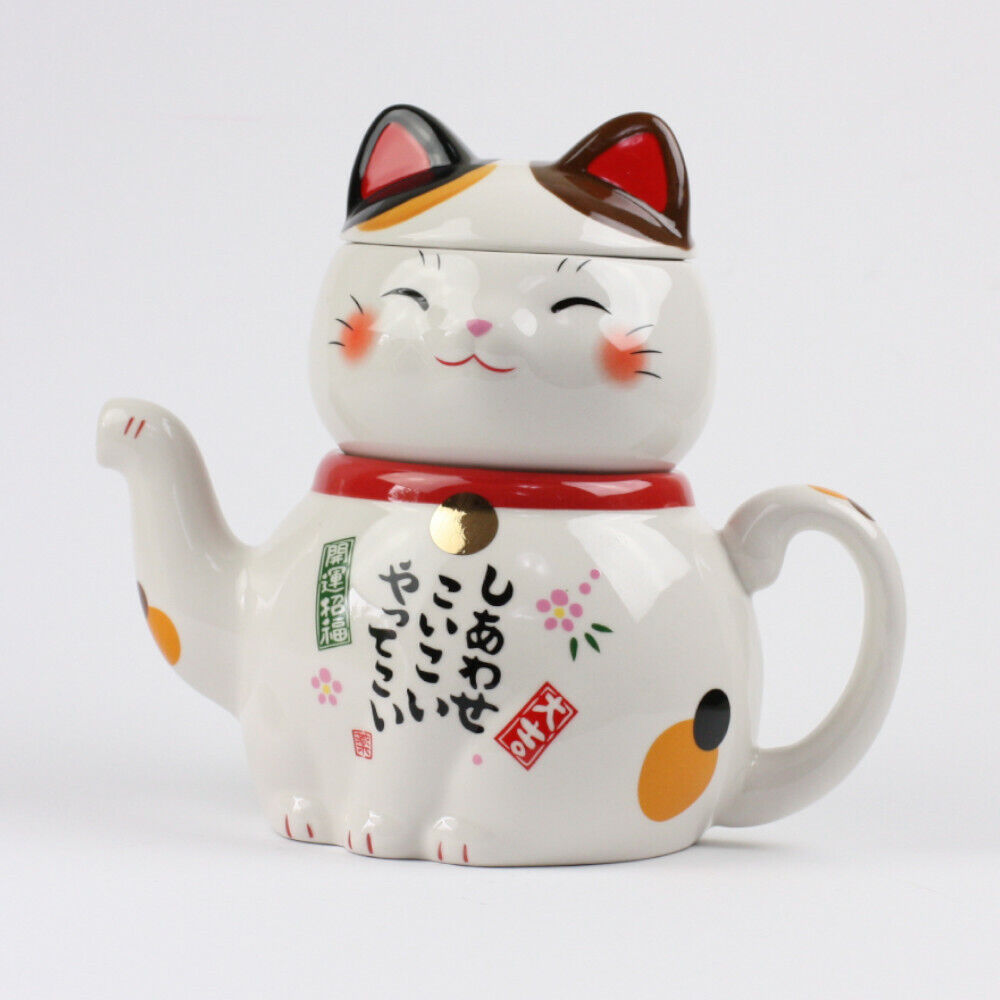 Manekineko Teeset, Kanne & Tasse in Form einer Katze, original Japan