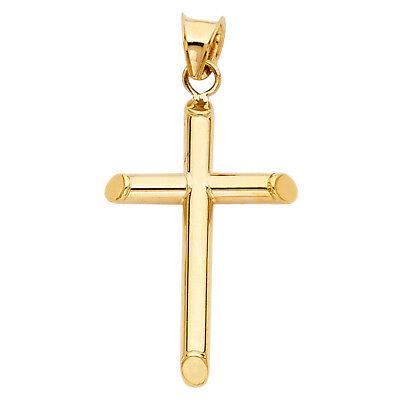 14k Yellow Gold Plain Religious Tube Christ Cross Pendant Charm 32 MM Length