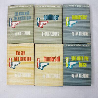 Lot of 6 Ian Fleming James Bond Hardcover Books Vintage 1950s -60s
