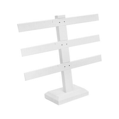 Display Jewelry Showcase White Faux Leather 3 Bars Earring Stand 10 X 9