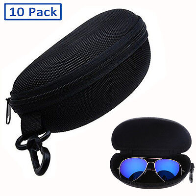 10 Pack Zipper Eye Glasses Sunglasses Box Hard Case Portable Protector Shell