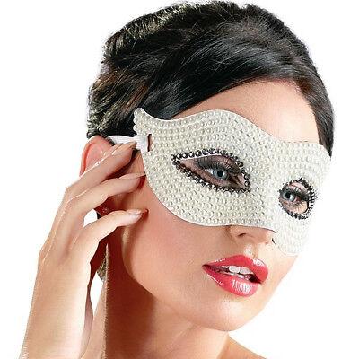 Augenmaske mit Perlen weiß Erotik Kostüm Ball Accessoire (Maskerade Perlen)
