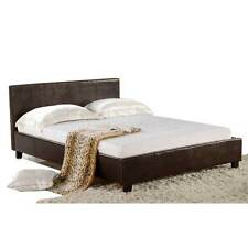 BENZ BEDS Premium Brown Sultan Series Double Size PU Leather Frame Wooden