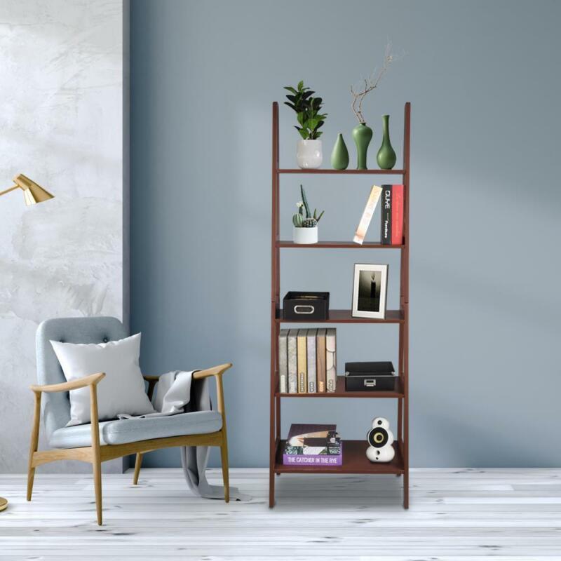 Living Room Bedroom 5 Tier MDF Ladder Shelf Bookcase Plant Stand Rack Shelves US