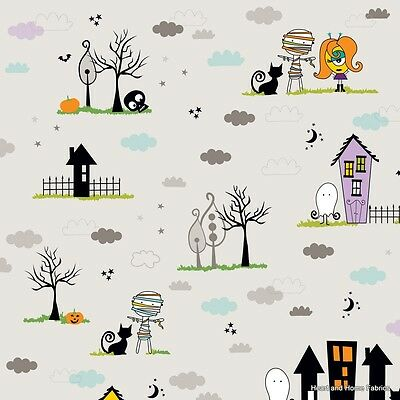 Cute Halloween Crafts For Kids (Too Cute To Spook Main Gray by Bella Blvd for Riley Blake, 1/2 yd cotton)