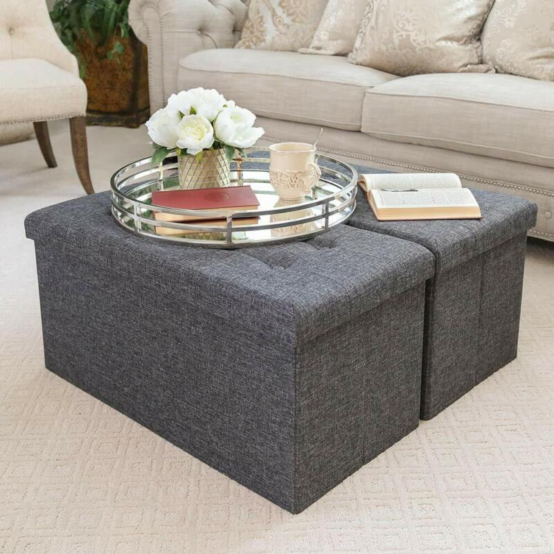 Multi Purpose Storage Trunk Coffee Table Bench - 31.5 Inch Charcoal Gray