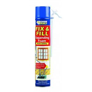 EVERBUILD FIX & FILL EXPANDING FOAM FILLER GAPS AND CRACKS ADHESIVE 750ML TIN