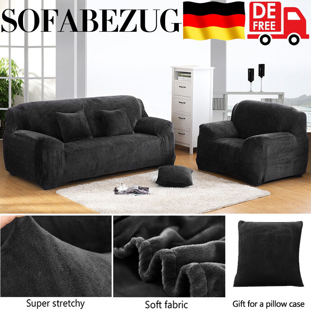 Sofa Überwürfe Sofabezug Stretch Samt Sofahusse für Sofa Abdeckung DE 1-4 Sitze