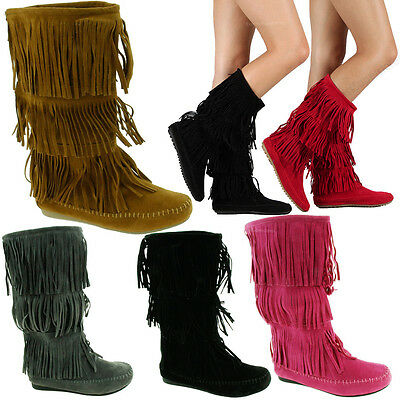 Stylish High Heel Boots (Womens Fringe Boots High Fashion Slouch Flat Heel Boot Hot Stylish Shoes)