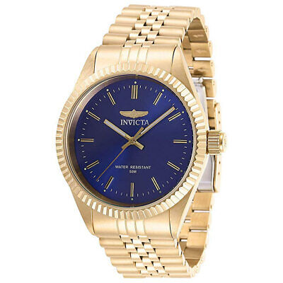 Invicta Men's Watch Specialty Blue Dial Yellow Gold Bracelet 29386